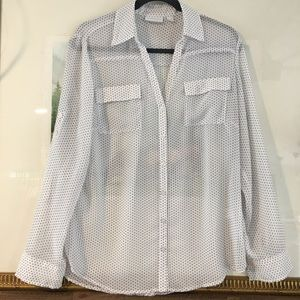 New York & Company Sheer Polka Dot Blouse Shirt